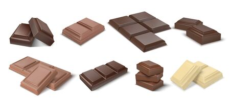 Chocolate pieces. Realistic dark bars and chunks of milky chocolate, 3D blocks of cocoa dessert. Vector square chocolate snacks and white and black candies