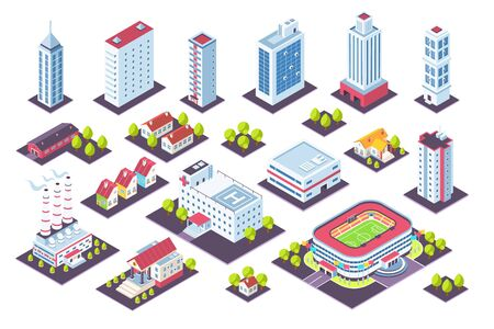 Isometric buildings set. City houses and industrial constructions, 3D factory offices cottage museum. Vector illustration view from above real urban estate set