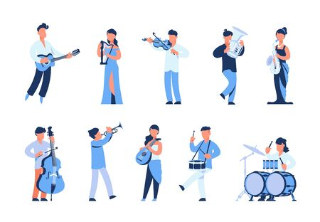 Cartoon musicians. Men and women playing musical instruments, street musicians and orchestra members. Vector illustration flat symphony band in blue set Çizim