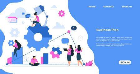 Team building landing page. Business development, work process organization and teamwork cooperation concept. Vector banners webpage mechanism communication people in business