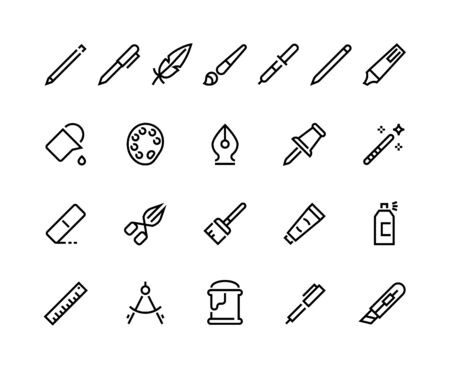 Drawing tools line icons. Minimal pencil pen brush bucket pallet stroke pictograms, writing and art web interface symbols. Vector set flat seal pictogram
