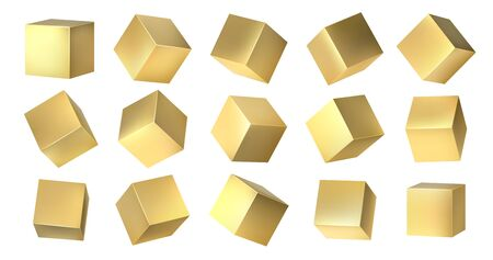 Golden cubes. Realistic 3D blocks of yellow metal from different isometric angles, golden square shapes design. Vector metallic set 3D isometric yellow metal box on white background