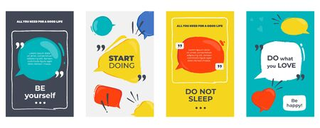 Quote frames. Colored posters with frames and motivation text, dialog and opinion speech bubbles. Vector citation creative graphic banners