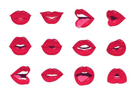 Female lips. Cartoon sexy woman smile, open closed and smiley mouth, red lips isolated on white. Vector lips kiss gesture and makeup, smiling image lip girl