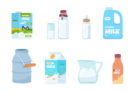 Cartoon milk. Plastic bottle, white food container, carton package, bottle and glass with milk. Vector set illustration of isolated packs for milk with fresh product in traditional carton