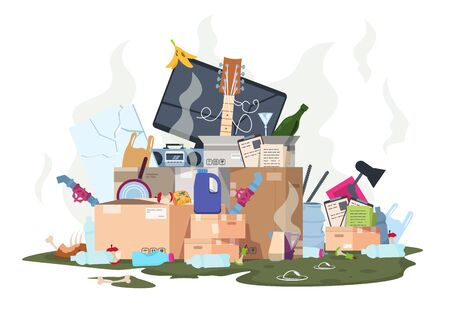 Garbage pile. Organic and plastic dirty stack of smelly trash, paper metal and food waste isolated on white background. Vector isolated illustration rubbish dump smell junk Vektorové ilustrace