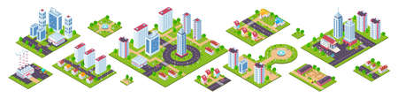 Isometric city. 3D real estate houses cars and town constructions, city blocks with streets and nature. Vector image urban town set, design concept cities map Stock Illustratie