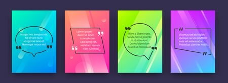 Quote posters. Banners with citation and speech bubbles in colored frames, opinion tag templates. Vector graphic speech circle and square frames with quotes