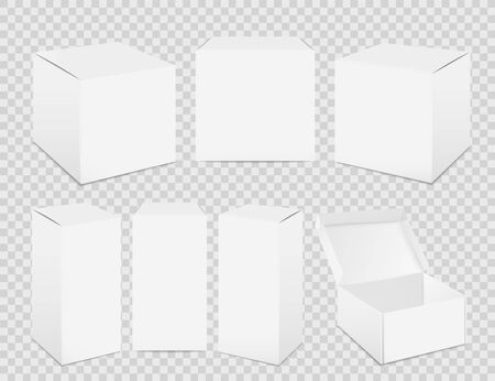 Paper boxes. Realistic tall white cardboard package mockup, paper food container. Vector set isolated pack for medicine on transparent background