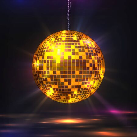 Disco ball. 80s party light element, retro futuristic glitter sphere for music and dance night party. Vector illustration mirror texture ball with light bokeh effects