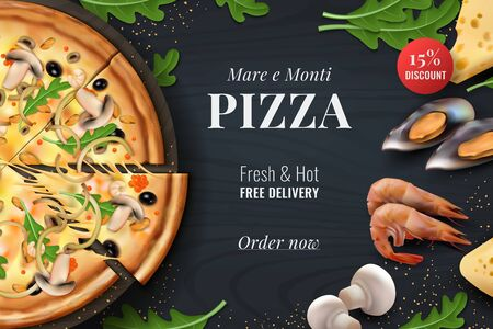 Realistic pizza background. Menu poster with traditional Italian food with toppings for restaurant banner or advertising. Vector 3D promotion flyer designs with realistic symbols italian snacks