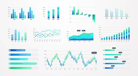 Histogram charts. Business infographic template with stock diagrams and statistic bars, line graphs and charts for presentation and finance report. Vector set charting on dashboard Illustration