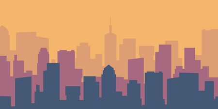 Cartoon cityscape. Empty flat lively city silhouette. Daytime urban skyline. Vector panoramic building outlines urban landscape