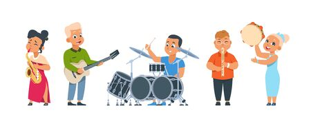 Cartoon child band. Cute kid orchestra with happy children playing musical instruments on party or in class. Vector illustration smiling kids group performing music