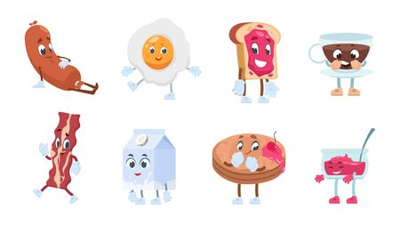 Breakfast characters. Breakfast food with cute kawaii faces, toast eggs jam milk coffee and bakery pastries. Vector illustration objects funny morning smiling food for comic illustrated Ilustração