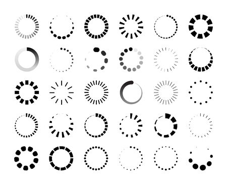 Round progress bar. Circle loader and countdown icon for web and application ui, round infographic element. Vector wait data progressions download indicator set Illustration