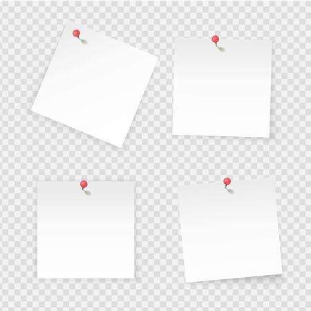 Sticky notes. Paper stick notes isolated on transparent background. Empty notebook page pinned red pushbutton. Vector paper labels with empty space for working board
