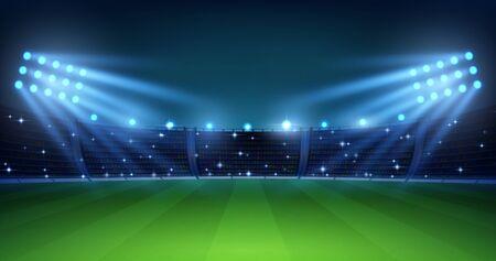 Arena di calcio realistica. Campo da calcio di notte con luci luminose dello stadio, erba verde e tribune illuminate. Sfondo di illustrazione vettoriale per campionato di calcio o squadra di partita
