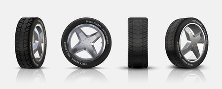 Realistic car tires. 3D isolated auto tyres with alloy rims, detailed car wheels with disk and rubber for flyers, brochures and banners. Vector set black auto tire with reflexion Illustration