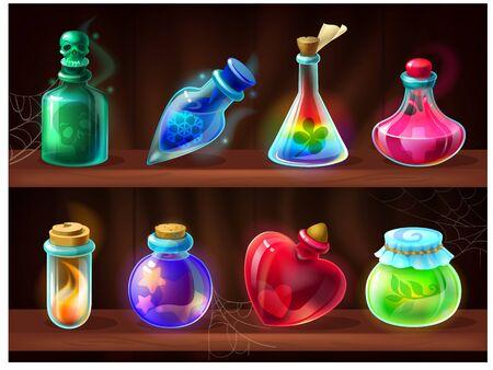 Potion bottles. Game alchemist liquids on wooden shelf, cartoon love potion, poison, magic elixir. Vector set of fantasy game chemical jars for magic alchemy laboratory