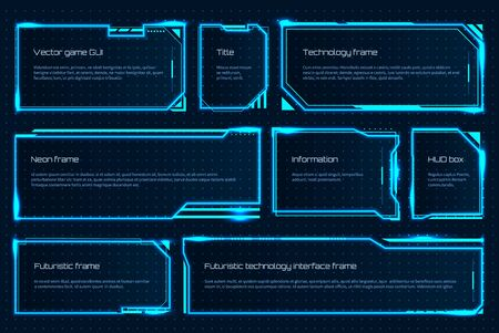 HUD game element. Futuristic tech screen template with text messages, warning technology frame. Vector attention interface hologram for gaming space management