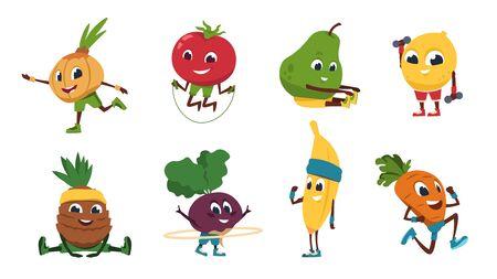Aptitud de frutas. Personajes de dibujos animados de verduras haciendo ejercicios de fitness y actividades deportivas. Ilustración de vector de comida sana linda y divertida en poses de entrenamiento deportivo