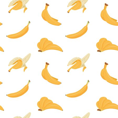 Banana seamless pattern. Cartoon texture of yellow peeled, multiple and single bananas, flat tropical fruit fabric design. Vector illustration pattern ripe fruit dessert for print