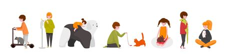 Kids with pets. Happy cartoon children characters with adopted home animals, cute kids playing with their pets. Vector isolated set image smiling children petting animals