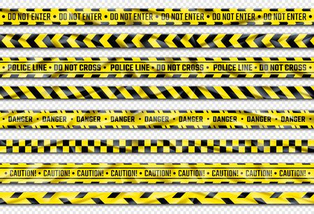 Danger ribbon. Yellow caution tape with warning signs for police crime scene or construction area. Vector illustration realistic attention stripes industrial area alert