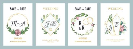 Wedding posters. Luxury invitation card template with floral monograms and minimalist design elements. Vector illustration modern pastel banners invites on holiday