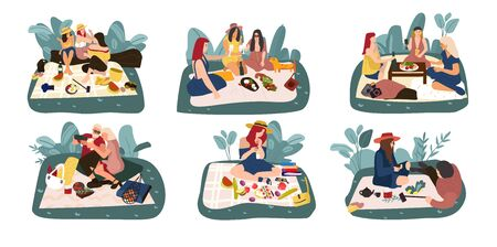 Cartoon picnic. Happy characters on summer recreation activities, eating outdoors and spending time. Vector illustration relatives and friends eat food on nature