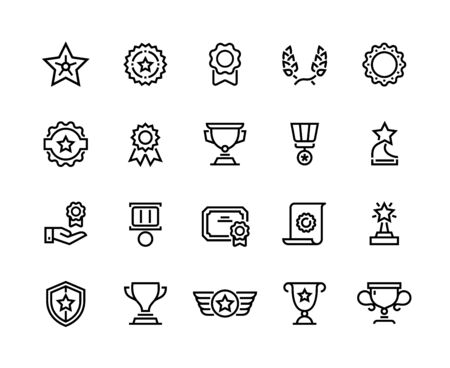 Award line icons. Winner reward, trophy medal and competition medal, premium quality symbol. Vector winner awards cup and prize set, quality concept best accomplishment