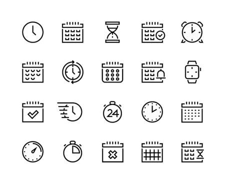 Zeit- und Kalenderzeilensymbole. Piktogramme für Geschäftsplanung und Terminoptimierung mit Uhr, Wecker, Stoppuhr und Chronometer. Vektor-Set einfache Symbolsymbole Zeitnehmer, Zeichen Zeitrelativität