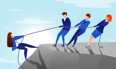 Colleagues pull rope. Teamwork concept with cartoon office workers helping to reach the top of the mountain to their colleague. Vector success or helpful friend illustration, pulling up business team