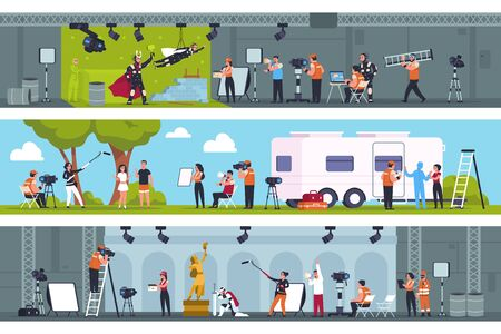 Film making. Movie production studio with film cast shooting scene on green screen, in pavilion and on location. Vector team motion fantastic movie or cartoon recording set