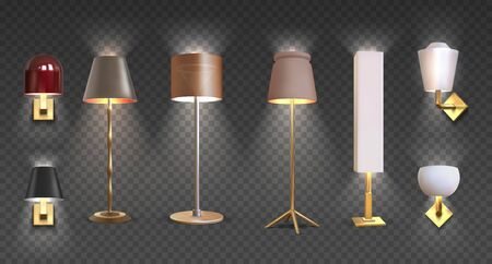 Realistic floor lamp. 3D closeup render of modern electric torchere with light isolated on transparent background. Vector illustration light furniture set for illumination interior Banque d'images - 143933661