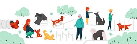 People with pets at park. City park area with cartoon characters training their home animals. Vector man woman children outdoor activity playing with dogs Ilustração Vetorial
