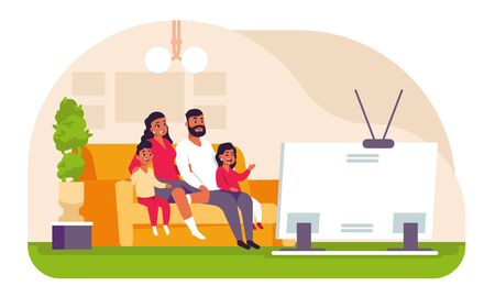 Family watching TV. Cartoon father mother and children spending weekend at home, sitting on couch and watching movie or cartoon. Vector illustration scene young mother and father relax front of TV