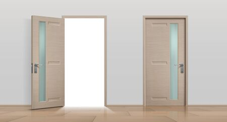Open and closed doors. Realistic 3D white and brown home and office entry doors. Vector image different front apartment doors set isolated on white background 向量圖像