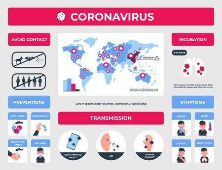 Corona virus. CoV-2019 disease symptoms and precautions infographic elements, flue and pneumonia prevention. Vector medical illustration prevent health danger and risk factors Vettoriali