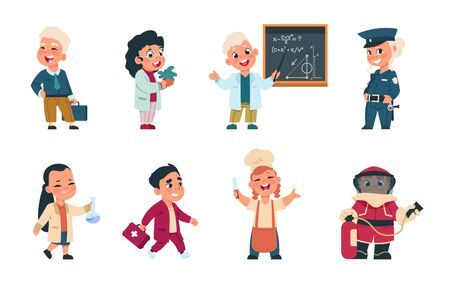 Kids professions. Cartoon cute children dressed in different occupation uniform, businessman worker doctor cook. Vector cute boys and girls playing characters with jobs different occupation