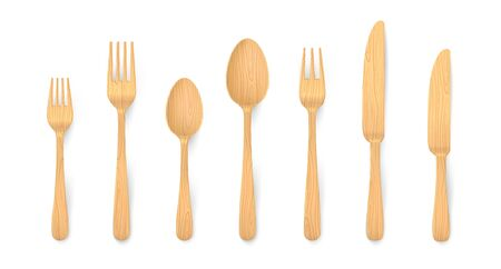 Realistic wooden cutlery. Biodegradable bamboo table forks, spoons and knifes made of natural reusable material. Vector 3D eco wooden isolated set for setting dinner 向量圖像