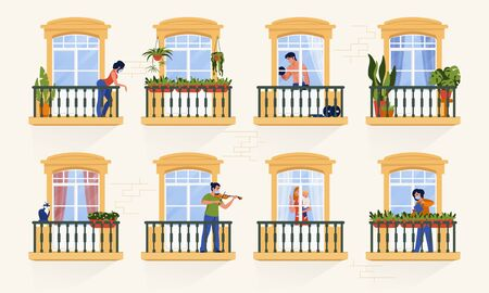 Neighbors in windows. People characters staying at home on quarantine and watching TV, cooking and spending time together. Vector illustrations cartoon persons in apartments, coronavirus isolation Vettoriali