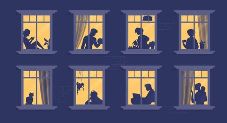 Neighbors in windows. Cartoon characters at their apartment reading book, cooking, watching TV and spending time together. Vector illustration evening home scene, silhouette or shadow people in window Vectores