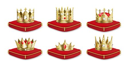 Crowns on pillow. Realistic 3D golden king and queen headdress collection, luxury medieval monarch set. Vector illustration isolated royal crown of gold on red pillow for emperor heir Ilustração