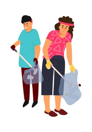 Recycling characters. Vector image man and woman sort trash. Gloved people collect garbage in sorting bags 일러스트