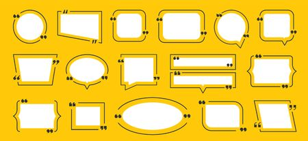 Quotation box frame. Quote yellow boxes icon set. Idea frame set. Vector graphic image bubble blog quotes symbols for remark or text communication Ilustracja