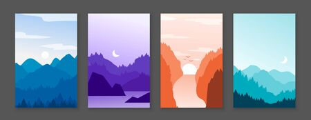 Mountains posters. Rocky mountains and snowy peaks, banners with cartoon nature outdoor backdrop. Vector graphic illustration abstract mountain vertical landscape set
