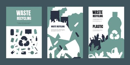 Garbage poster. Waste separation and recycling banners, trash management and environmental pollution flyers. Vector illustrations booklets and flyer of rubbish recycle set