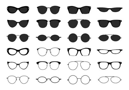 Glasses collection. Geek eyeglasses and sunglasses. Black spectacles silhouette. Vector fashion optical eyewear shapes icon set